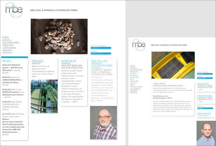 Webseite mit Schwerpunkt auf den Mitarbeitern und den Maschinen.  www.mbe-cmt.de