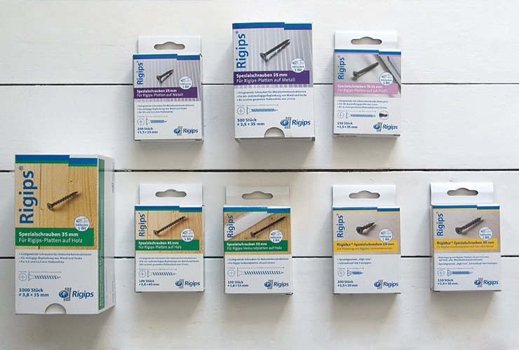 Schrauben-Verpackungen mit erklärendem Produktfoto.