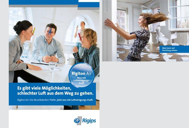 Broschüre mit Mailingcharakter zur Vorstellung einer neuen Rigips-Platte mit luftreinigenden Eigenschaften.