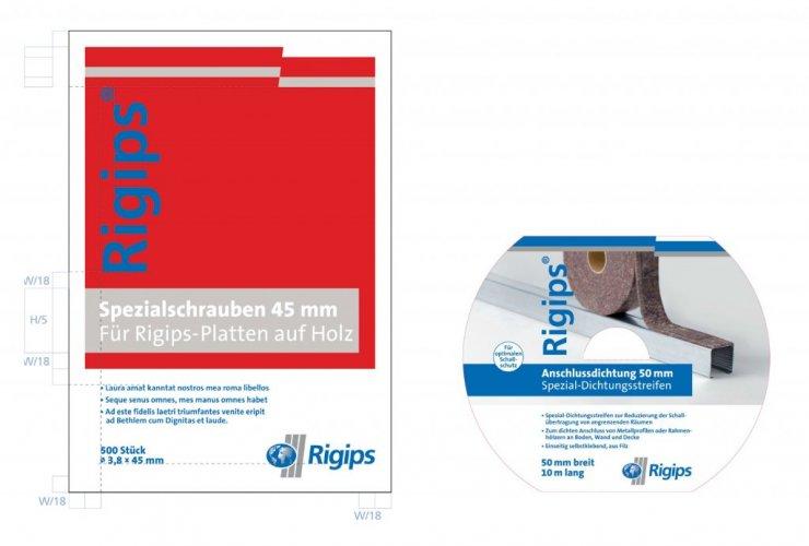 Gestaltungsraster passend zum Firmen-CI anwendbar auf verschiedenste Verpackungen